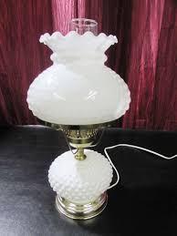 white hobnail milk glass electric hurricane lamp galileo thermometer