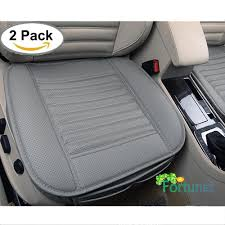 fortunet edge wrapping car front seat cover 2pcs universal breathable pu leather bamboo charcoal auto