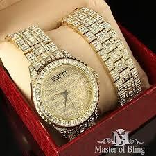 mens lab diamond hip hop gold watch bracelet set iced out king mens lab diamond hip hop gold watch bracelet