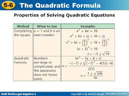 properties of solving quadratic equations 11 properties