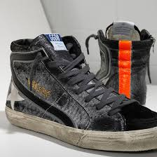 Golden Goose Shoe Size Chart Golden Goose Slide High Top Sneakers Mens Black White Orange