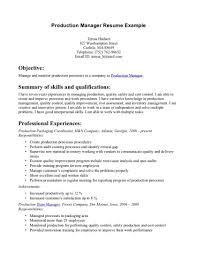 Production Managersume Summary Print Sample Download India Doc