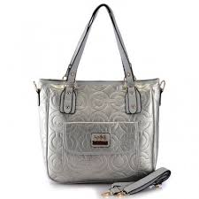 Coach In Printed Signature Small Silver Totes BBP