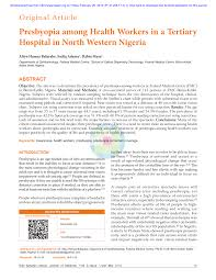 Pdf Presbyopia Among Health Workers In A Tertiary Hospital
