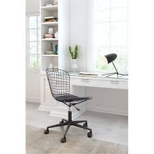 wired matte black office chair wire office
