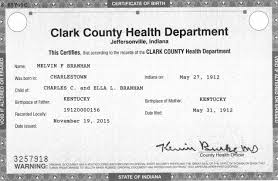 Official Birth Certificate For Melvin Branham - Youtube