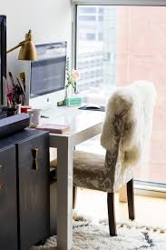 west elm parsons desk office makeover sheepskin rug home office inspiration the