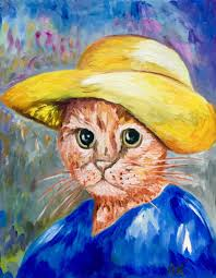 cat la van gogh in a yellow hat painting 45x35x2 cm 2018 by