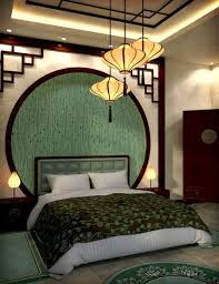 Modern Chinese Bedroom. Love the idea of the dark crown molding and the  accents on