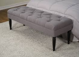 ... Claudia Diamond Wale Grey Tufted Bench Contemporary Upholstered Bedroom  Bench ...