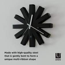 umbra ribbon 12 in black wall clock