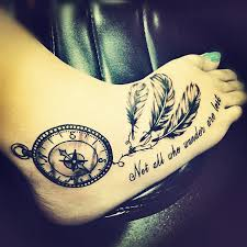 Dream Catcher Foot Tattoos Dream catcher not all those who wander are lost compass foot 48