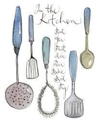 vintage kitchen utensils illustration. Modren Illustration Kitchen Utensils Illustration 8X10 Art Print By Lucileskitchen 3000 On Vintage Utensils Illustration E
