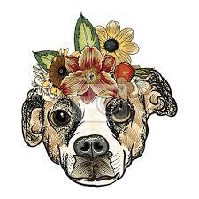 Fototapeta Tetování Nebo Tričko šaty Poster Boho Chic Dog Portrét Koncept