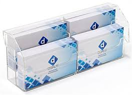 clear 2 tier countertop covered business card holder