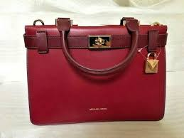 mwt michael kors tatiana small leather satchel maroon oxblood for