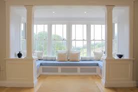 Decorations:Elegant Bedroom Bay Window Seating Design With Brown Curtain  Futuristic Beautiful White And Soft