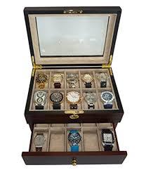 amazon com 20 piece ebony walnut wood men s watch box display 20 piece ebony walnut wood men s watch box display case collection jewelry box storage glass top