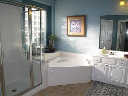 ... Bathtubs Idea, Corner Jacuzzi Tub Shower Combo Bathtub Shower Combo  Design Ideas Cozy Blue Bathroom ...