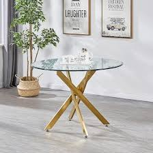 daytona round clear glass dining table