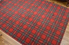 power loomed tartan plaid area rug red kitchen