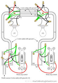 two lights between 3 way switches with the power feed via one of the 3 way switch light wiring diagram two lights between 3 way switches with the power feed via one of the light switches