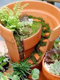 broken pot fairy garden idea 14