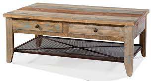 solid pine wood rustic four drawer coffee table with iron mesh shelf multi colored finish