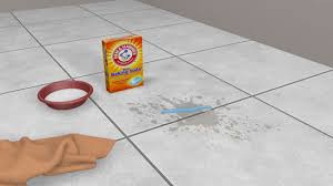 apply it to the dirty grout using an old toothbrush scrub the paste into the grout well
