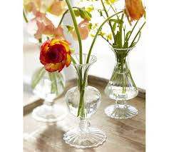 rippled glass bud vase set of 3