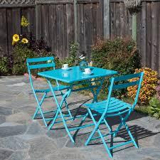 borealis rio 3 piece square blue steel patio folding bistro set