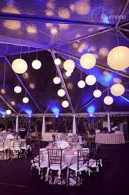 paper lanterns blue uplighting wedding decor blue wedding uplighting