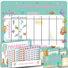 Potty Training Chart For Girls Potty Training Chart For Girls Cute Mermaid And Sea Theme 4 Week Reward Chart For Toddlers Sticker Chart Diploma Certificate Instruction
