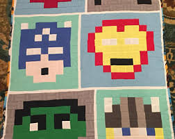 8 bit quilt | Etsy & Avengers lap quilt, 8 bit pattern, fleece back Adamdwight.com