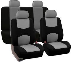 fh group universal fit full set flat cloth fabric car seat cover gray black fh fb050114 fit most car truck suv or van fb050gray114