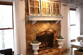 painted stone fireplace before and after