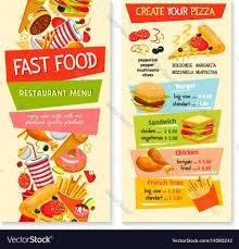 Food Menu Design Fast Food Flat Menu Design For Restaurant Vector Image