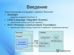 Презентация на тему Апробация технологий silverlight linq wcf  3 Введение Технологическая