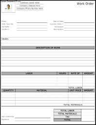 Work Order Form Template Free Forms Templates Ideas Service