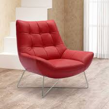 amazoncom medici tufted leather modern accent chair  red