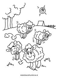 Kleurplaat Lente Lammetjes Schapen Dieren