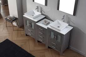virtu usa dior 66 double bathroom vanity set in zebra grey