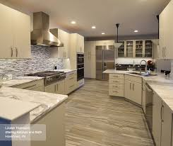 modern kitchen with light grey cabinets
