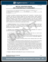 Nda Template For Startup Mutual Non Disclosure Agreement Nda Legal Templates