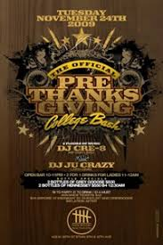 thanksgiving party flyer thanksgiving pre party at hk lounge