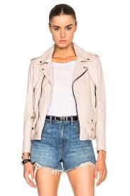image 1 of saint lau classic washed leather motorcycle jacket in powder rose