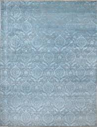 damask pattern blue grey handknotted rug