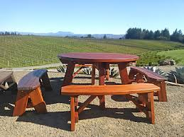 round picnic table options 5 diameter unattached benches redwood round