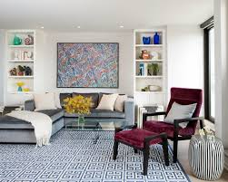 awesome modern living room rug ideas blue moroccan pattern wool rug purple microfiber lounge chair white