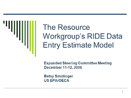 1 The Resource Workgroups Ride Data Entry Estimate Model